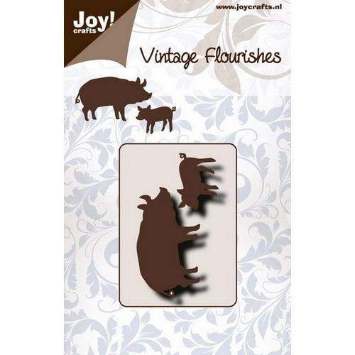 Snijstencil - Vintage flourishes - Varkens 2st