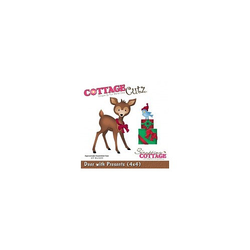 Scrapping Cottage CottageCutz Deer With Presents (4x4) (CC4x4-588)