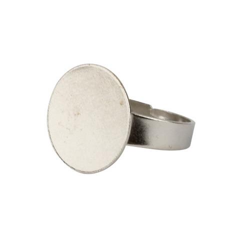 Ring met plateau, zilver