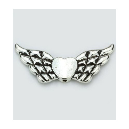 Angel Wings with Heart, Platinum, 21x41mm, 2pcs