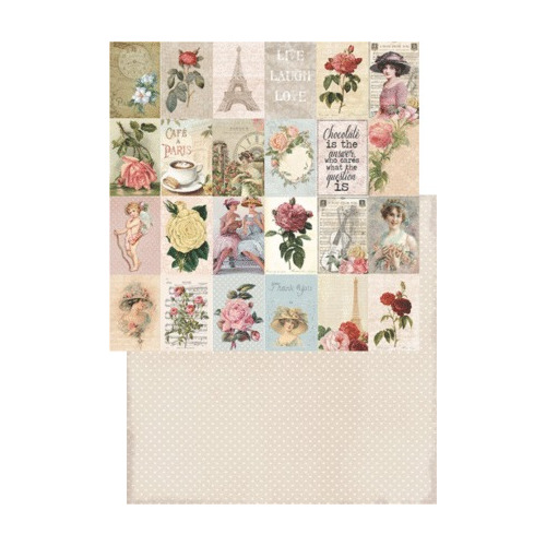 RP0201 Scrap dubbelzijdig 200gr 12x12 My Rose Garden Collection Labels