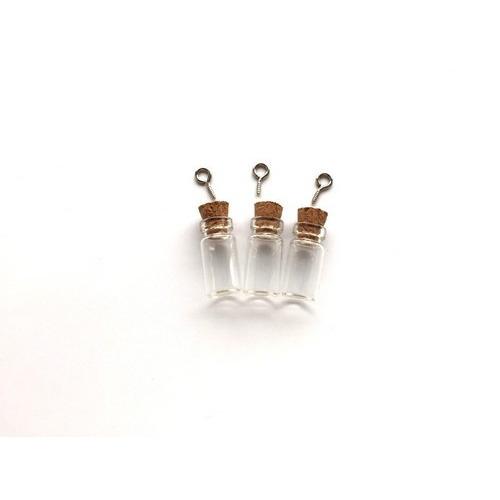 Mini glazen flesjes met kurk & schroef 3 ST 12423-2301 11x12mm