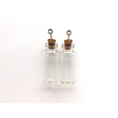 Mini glazen flesjes met kurk & schroef 2 ST 12423-2305 18x40mm