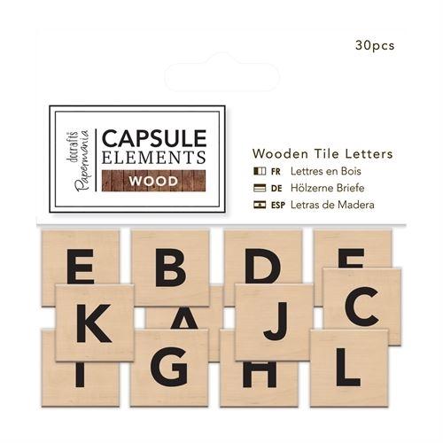 Wooden Tile Letters (30pcs) - Elements Wood White