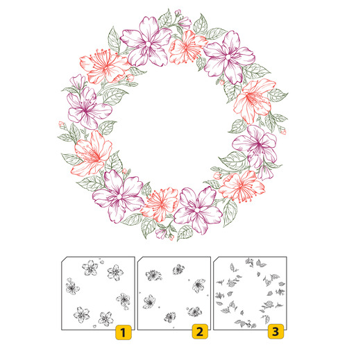 Layered Clear stamps - Wreath-2 (3 pcs)