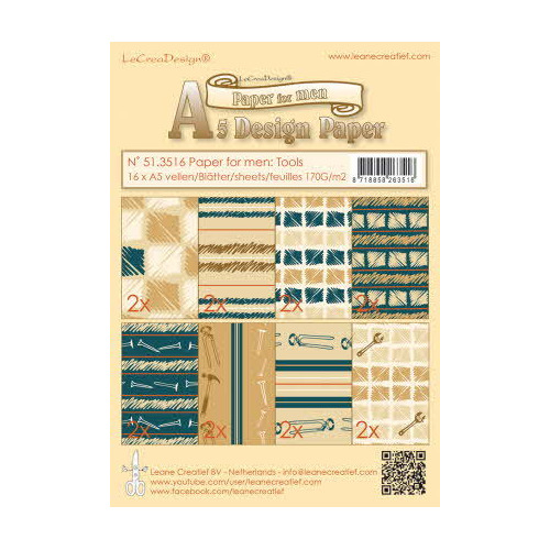Design paper for men, Tools blue / brown, 16 sheets A5 170 gr.