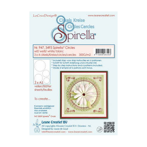 Spirella® 12 pre-cut circles 300 gr. 4 different sizes, white incl. instructions and 6 patterns