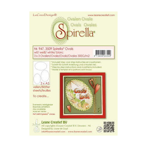 Spirella® 9 pre-cut ovals 300 gr. 3 different sizes, white incl. instructions and 6 patterns