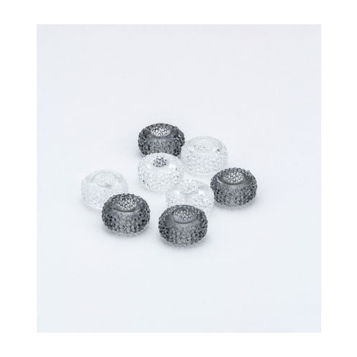 Resin Beads, Clear/Grey