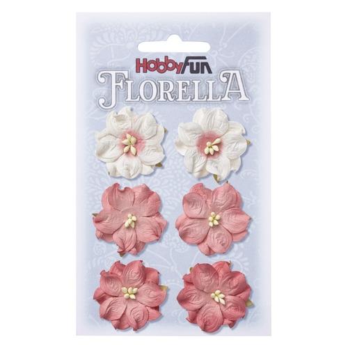 FLORELLA Bloemen uit moerbijpapier, 3,5 cm, hortensia, buidel met 6 st