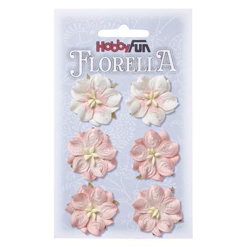 FLORELLA Bloemen uit moerbijpapier, 3,5 cm, vaalroze, buidel met 6 st