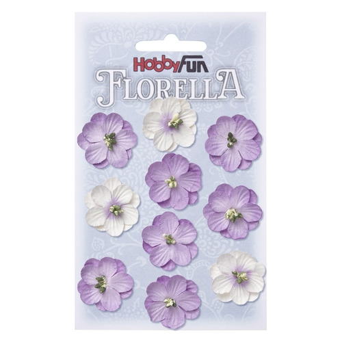 FLORELLA Bloemen uit moerbijpapier, 2,5 cm, lavendel, buidel met 10 st