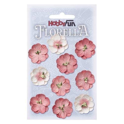 FLORELLA Bloemen uit moerbijpapier, 2,5 cm, hortensia, buidel met 10 st