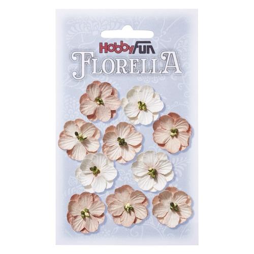 FLORELLA Bloemen uit moerbijpapier, 2,5 cm, rozenhout, buidel met 10 st