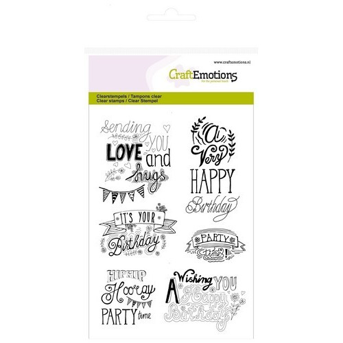 CraftEmotions clearstamps A6 - birthday handlettering (Eng)