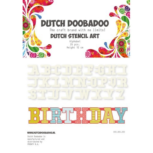 Dutch Doobadoo Dutch Mask Art stencil Alfabet A-Z (26 stencils) 12cm 470.990.010 (04-17)