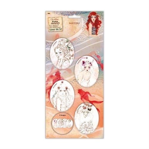 Colour Me In Wooden Characters (8pk) - Santoro