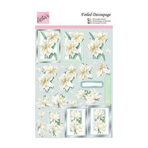 Foiled Decoupage - White Lillies