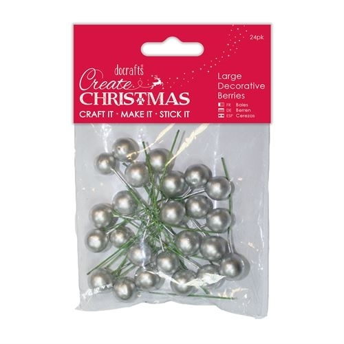 Large Decorative Berries (24pk) - Silver