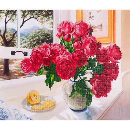 DD12.013 Diamond Dotz® - 57x49cm - Roses by the Window