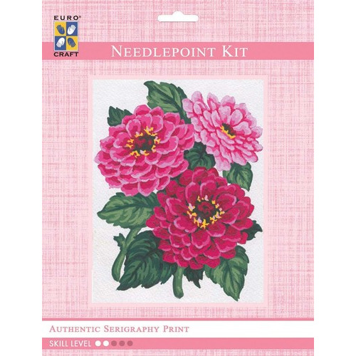 3046K - Eurocraft NEEDLEPOINT KIT 14x18cm Zinnias