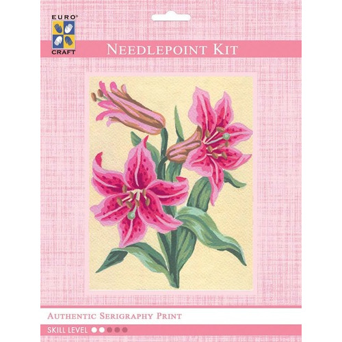 3106K - Eurocraft NEEDLEPOINT KIT 14x18cm Pink Lillies