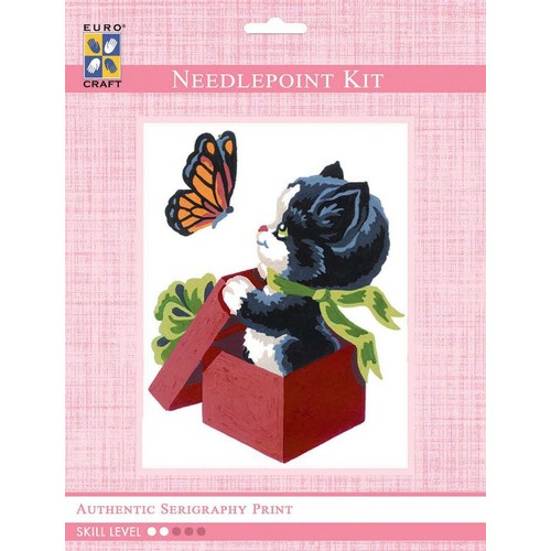 3193K - Eurocraft NEEDLEPOINT KIT 14x18cm Kitten and Butterfly