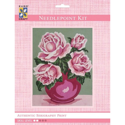 3239K - Eurocraft NEEDLEPOINT KIT 14x18cm Mauve Rose Bouquet