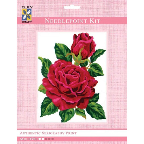 3285K - Eurocraft NEEDLEPOINT KIT 14x18cm Red Rose and Rose Bud