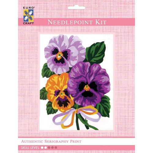 3287K - Eurocraft NEEDLEPOINT KIT 14x18cm Pansies Bouquet