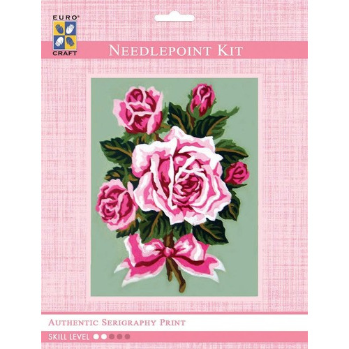 3288K - Eurocraft NEEDLEPOINT KIT 14x18cm Pink Rose Bouquet