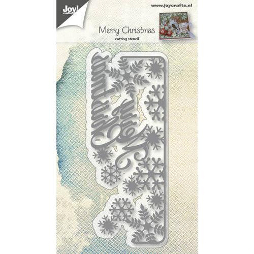 Snijstencil - Tekst M.Christmas met sneeuwvlokken