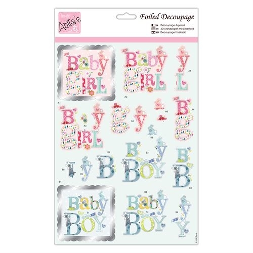 Foiled Decoupage - Baby Text