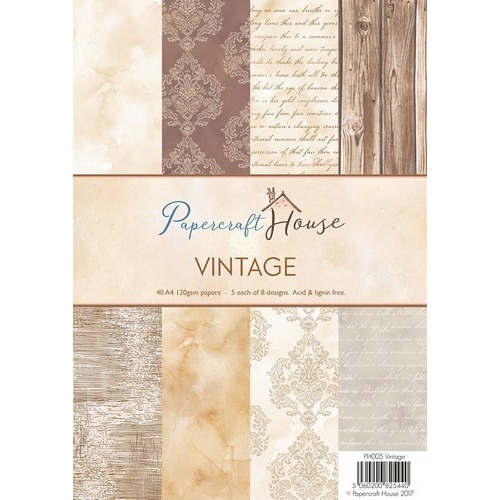 Wild Rose Studio's A4 Paper Pack Stripes and Vintage a 40 VL PH005 (06-17)