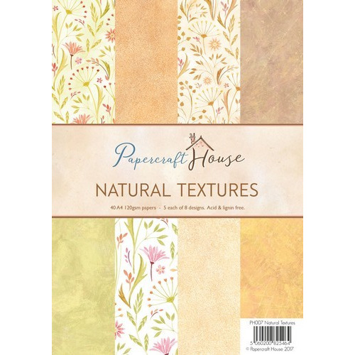Wild Rose Studio's A4 Paper Pack Stripes and Natural Textures 40 VL PH007 (06-17)