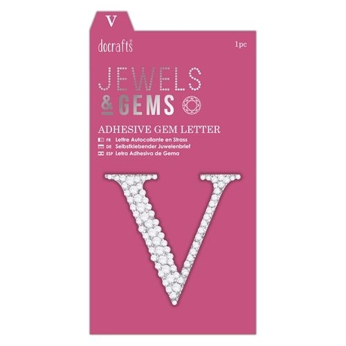 Adhesive Gem Letter - V - Jewels & Gems