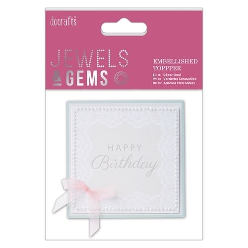 Embellished Topper - Happy Birthday - Jewels & Gems