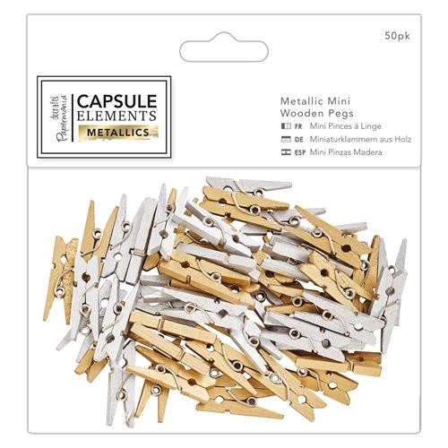 Metallic Mini Wooden Pegs (50pk) - Elements Metallics