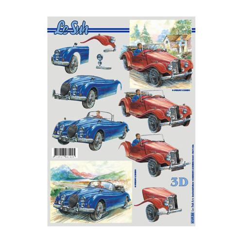 oude auto, blauwe auto, rode auto