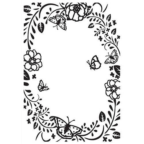 Embossing folder flower rectangle frame