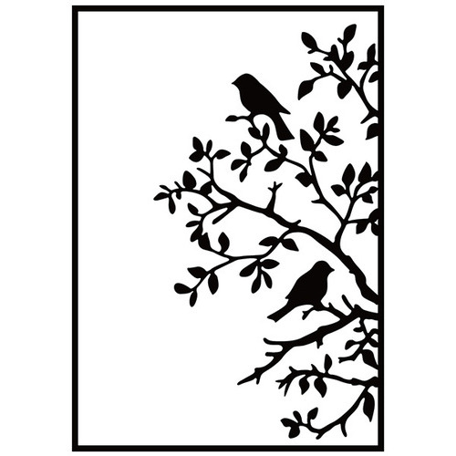 Embossing folder birds on branch