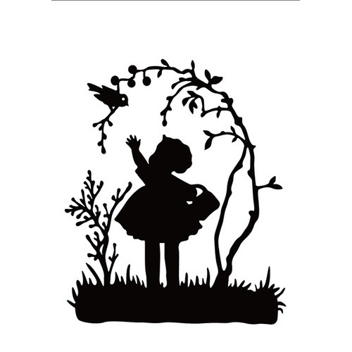 Embossing folder little girl with bird