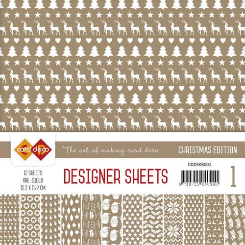 Card Deco - Designer Sheets -  Christmas Edition - koffiebruin