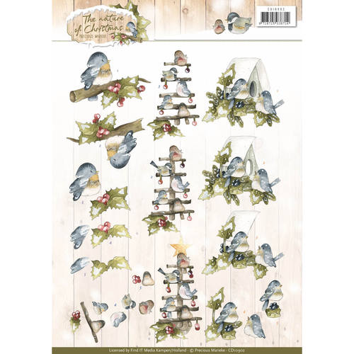 3D Knipvel - Precious Marieke - The Nature of Christmas - Christmas Birds
