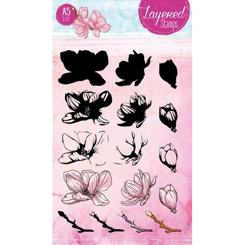 Studio Light Layered Clearstempel Magnolia A5 nr 23 STAMPLS23 (06-17)