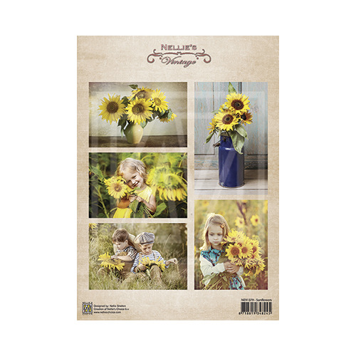 Vintage decoupage sheets sunflowers