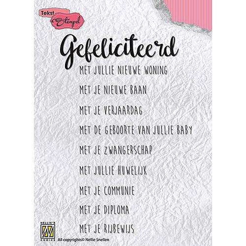 Clear stamp Dutch texts - Gefeliciteerd met jullie