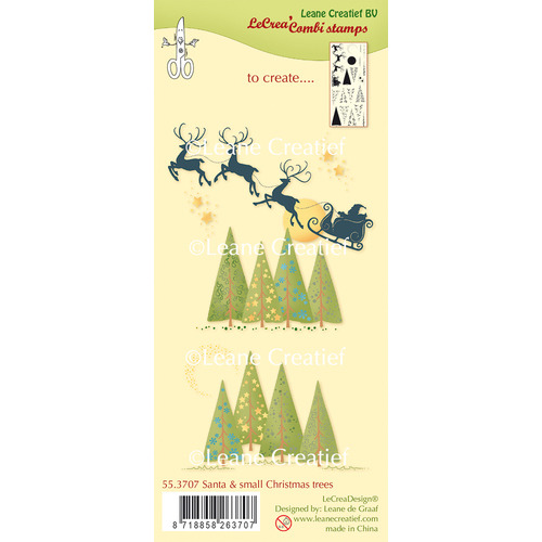 Combi clear stamp santa en small christmas trees