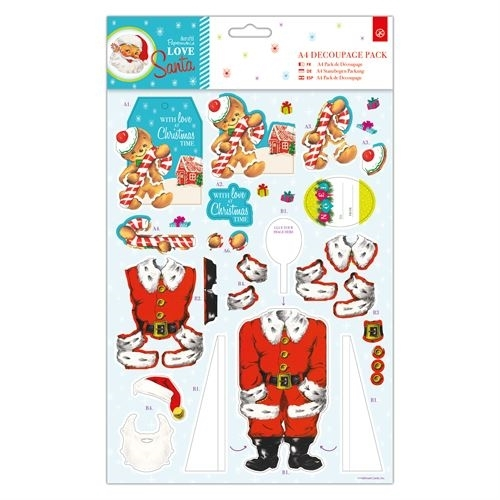 A4 Decoupage Pack - Love Santa - Gingerbread Man