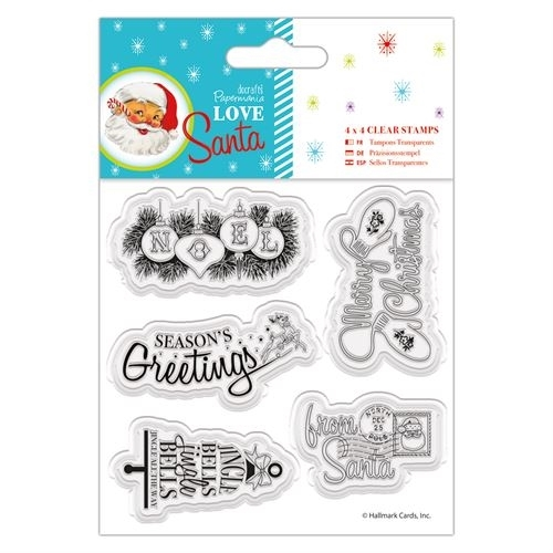 "4 x 4"" Clear Stamps - Love Santa - Mixed Sentiments"